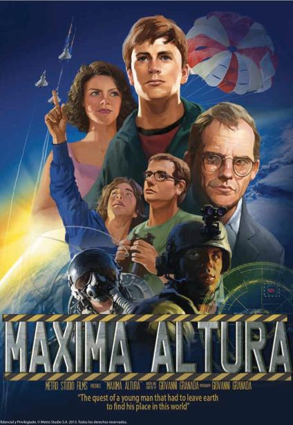 Poster Maximum Altitude. Illustration of the characters on a background of outer space